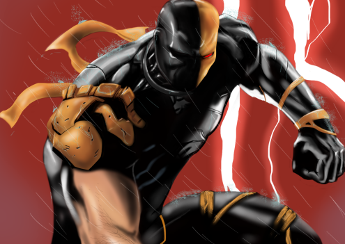 A digital illustration of the comic book character Deathstroke. Concept art.