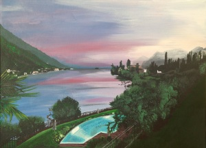 An acrylic painting of the view from the Hotel Maximilian Malcesine, Lake Garda