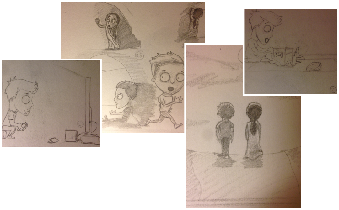An artist's sketches of pages from their children's book.