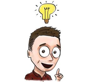 A man has an idea and a light bulb appears above his head.