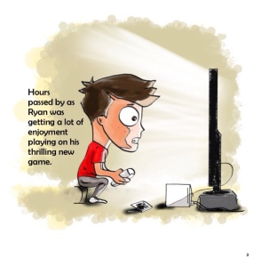 A boy having fun playing computer games.