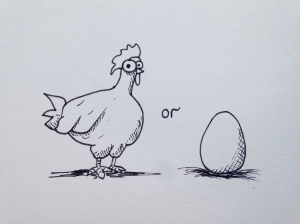A chicken and an egg. What came first?