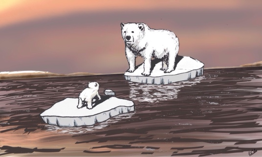 A mother polar bear looks on at her cub as they are separated by melting ice caps.