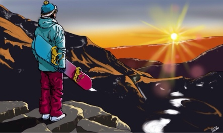 A frustrated snowboarder looking out at the Alps with no snow.