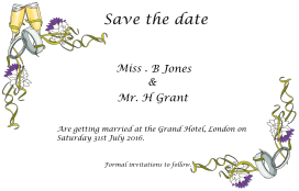 A sample of a 'save the date' wedding invitation. The design can be customised. £2.00 per item.