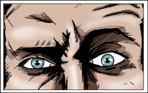 A comic of a man's eyes frowning at the camera. Not happy.