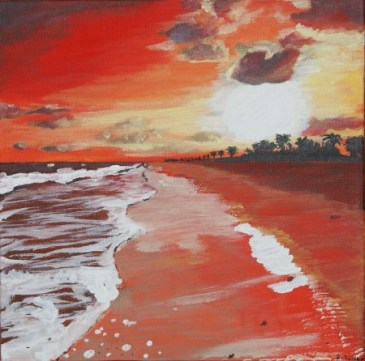 A painting of a beautiful beach at sunset, with the tide going out.