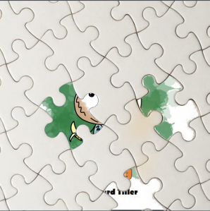 A puzzle covering the front page of a new children's book, which is about to be released.