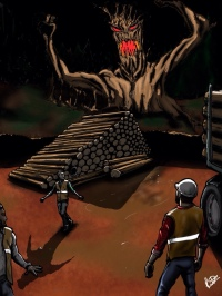 An angry tree monster rises up out of the ground and scares a group of loggers. Digital art.