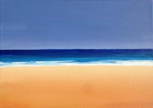 A simple beach painting made with acrylic paint on canvas by a local artist.