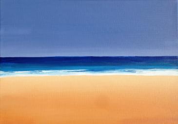 An acrylic painting of a beautiful, peaceful beach. Created on canvas.