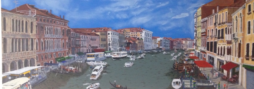 An acrylic painting of the view of the Grand Canal from the Rialto Bridge, Venice.