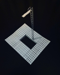 A 3D drawing of a swimming pool and diving board. Done with pen and paper.