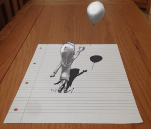 A little girl drop her balloon which then begins to float away off the page. Drawing, sketch, 3D art.