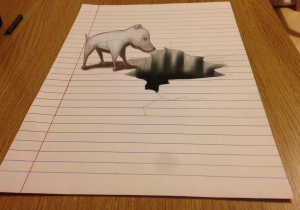 3D art of a dog looking in a hole. Illusion