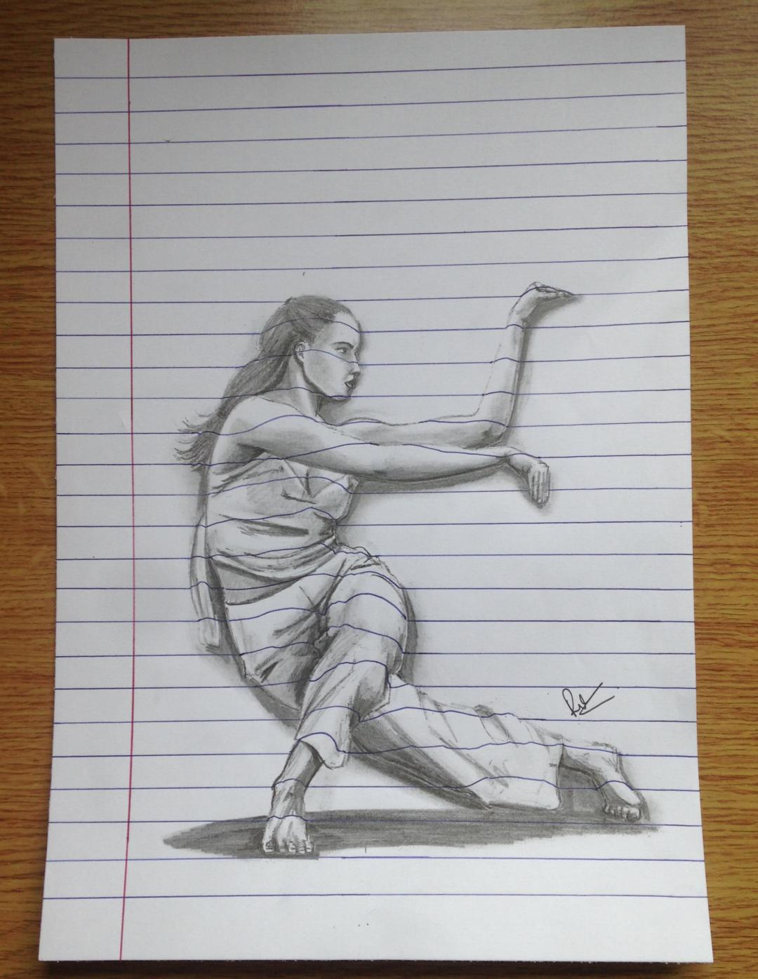 A lady practicing a kung fu form with good focus. A pencil sketch on lined paper which is a 3D illusion.