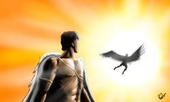 A picture of a young Greek man who is inspired by Icarus as he has wings on and is watching someone fly to the sun. Inspired by Daedalus and Icarus.