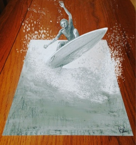 Surfer riding a wave out of the page. Sketch, drawing from an artist.