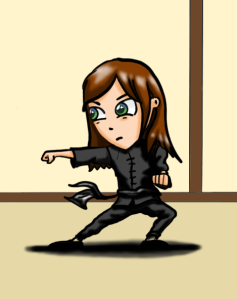 A manga style cartoon of a girl doing a kung-fu form. Digital art created by the author and illustrator of Sid Smart - the children's book about health and nutrition.