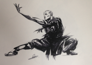 A concept art drawing of Shaolin Monk performing a form. Created using pen by author and illustrator of children's books about health and nutrition.