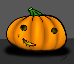 A cartoon drawing of a pumpkin created digitally by the author and illustrator of Sid Smart Eating - the children's book about health and nutrition.