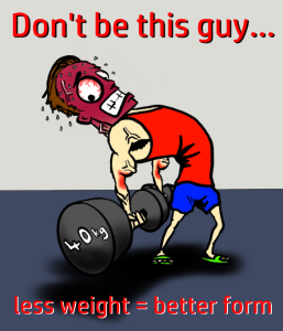 A cartoon of a man lifting weights with very poor technique. He is straining, turning red and bending backwards. Artwork by the author and illustrator of Sid Smart - the children's book about health and nutrition.