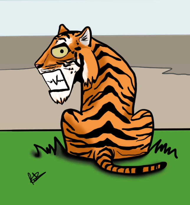 A cartoon drawing of a tiger looking over it's shoulder at the screen. A cartoon that was digitally created by the author and illustrator of Sid Smart - the children's book about health and nutrition.