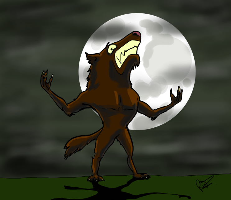 A cartoon werewolf in front of the moon looking rather distraught. Digital art by the author and illustrator of Sid Smart - the children's book about health and nutrition.