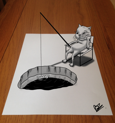 A cat fishing. 3D art by the author and illustrator of Sid Smart - the children's book about health and nutrition.
