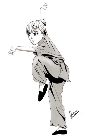 A manga style digital art drawing of a woman doing the eagle style form from the kung-fu martial art. Art from the author and illustrator of Sid Smart - the children's book about health and nutrition.