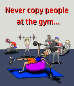 A drawing of a silly man lifting weights and doing dangerous and stupid techniques in gym.