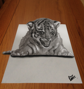 A 3d art illustration of a tiger cub in pencil. Art created by the author and illustrator of Sid Smart - the children's book about health and nutrition.