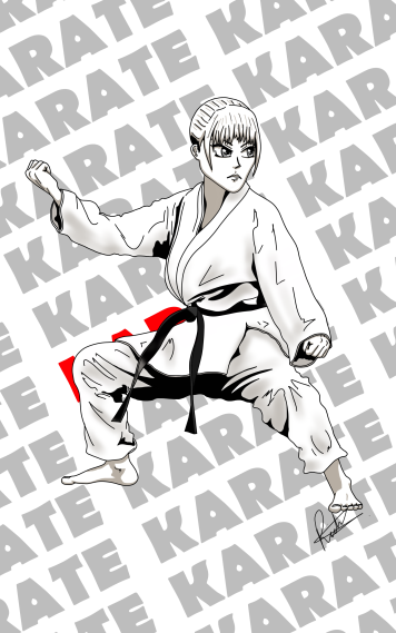 Manga style martial arts drawing. Illustration from the author and illustrator of children's books about health, nutrition and historical adventure.