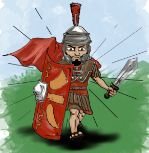 A drawing of a Roman Soldier from the children's book Ryan's Adventure in Rome.